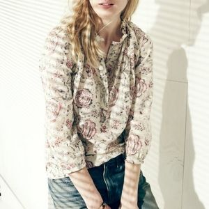 Madewell Shirred Popover in Turkish Garden Blouse